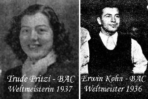 Tischtennis Weltmeister beim Badener AC - Trude Pritzi und Erwin Kohn