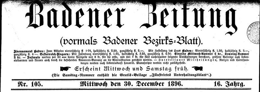 Titelblatt einer alten Badener Zeitung