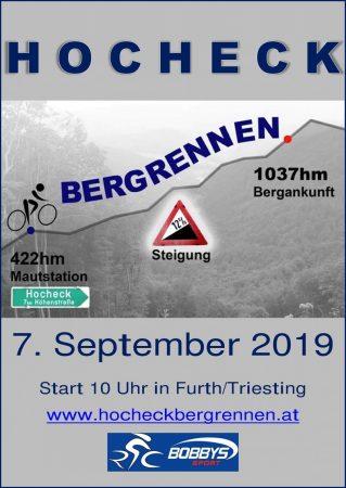 Plakat Hocheck-Bergrennen 2019 - Badener Athletiksport Club