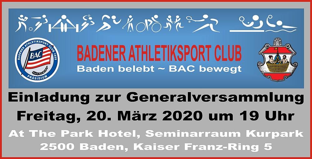 Einladung zur Generalversammlung 2020 - Badener Athletiksport Club BAC