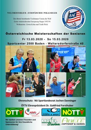 Plakat Österreichische TT-Meisterschaftem der Senioren 2020 - Badener AC Tischtennis